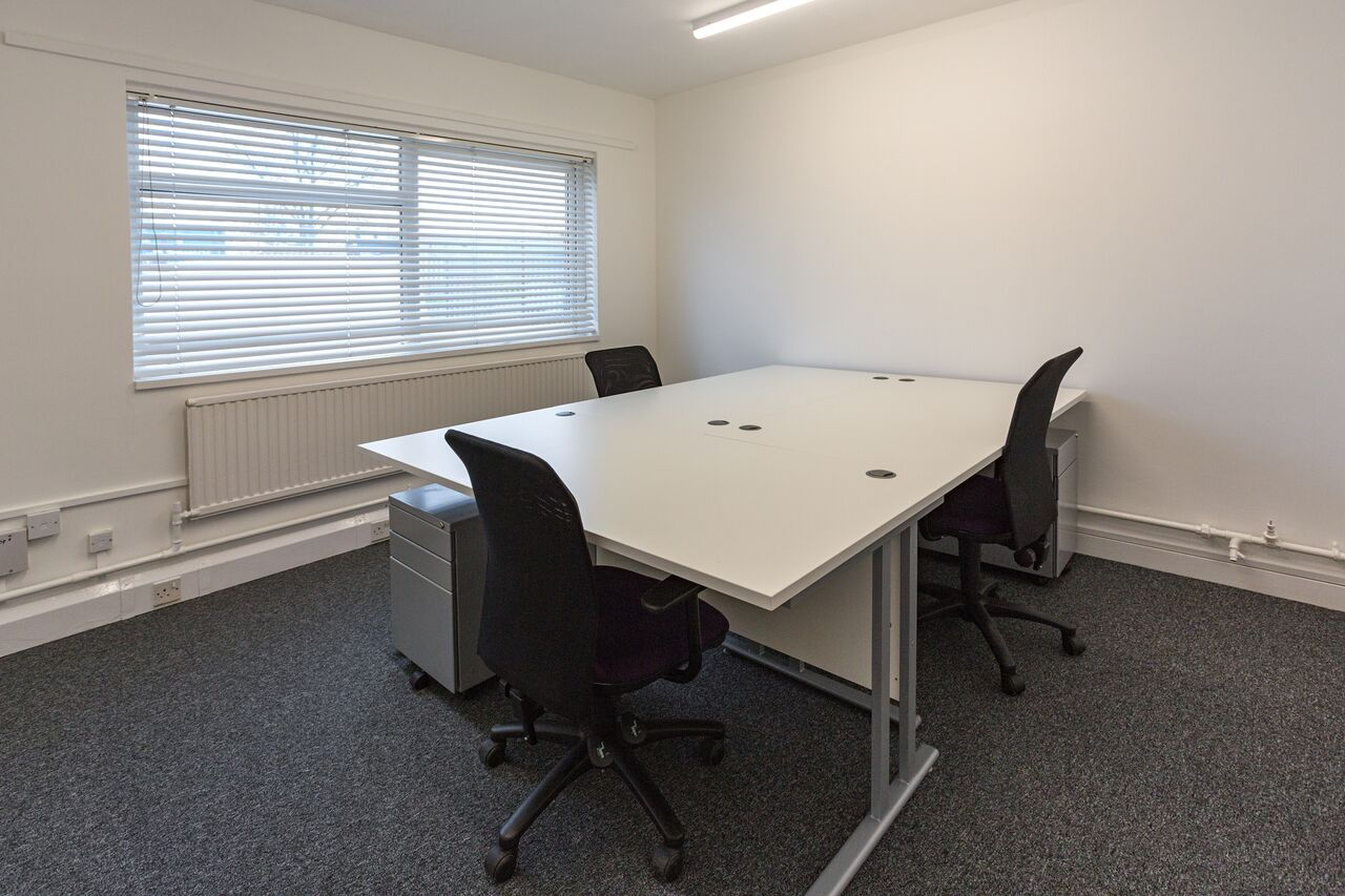 A typical 3 person office. Offices can be made available either furnished or non-furnished. Many have comfort cooling and have individually programmable intruder alarms